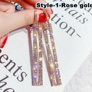 New 18k rose gold plated diamond earrings
